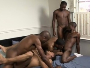 Five black muscular twinks have group gay sex in student roo