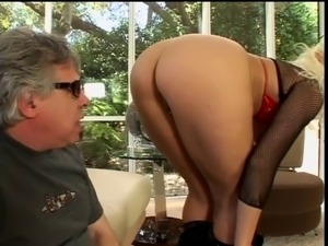 Two guys fucked blonde on the couch