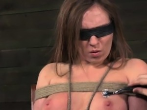 Restrained skanky slut getting pinwheeled