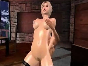 3D blonde babe in stockings getting fucked hard