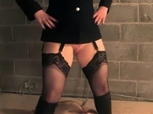English bondage domina pees on weak sub