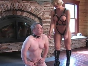 chastity sub licks bull cum