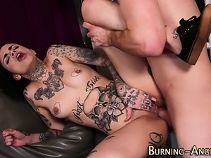 Tatted emo whore riding