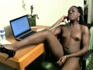 Having a phone sex makes this ebony t-babe secretary cumshot