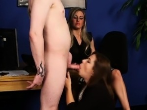 Secretary blows cock at work