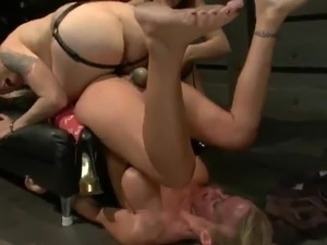 Bound Up Blonde has Bonded And Toyed By 2 gals