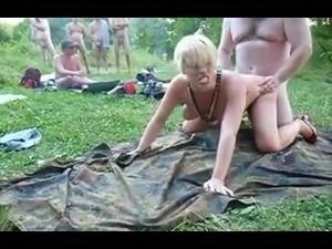 Outdoor lake amateur creampie gang bang