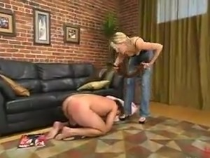 Blonde Audrey Leigh Dominates the man And Gives Him Pegging inside masochism