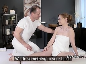 Masseur gently massaged redheads cunt