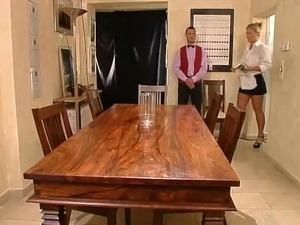 maid fucks threesome by jackass