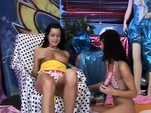 Sticky lesbian Hot stellar buddies playing with a vibrator