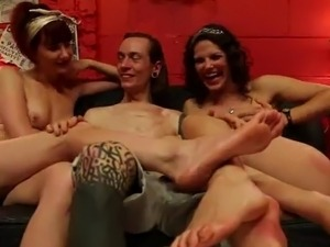 2 Kinky pussys Having funtime inside Foot Fetish female domination 3some