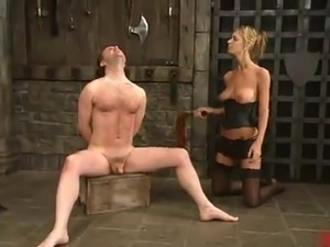 Horny Miss Brooke Whips the chap And Tortures His horn