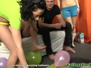 Euro college teens threeway sex dorm party