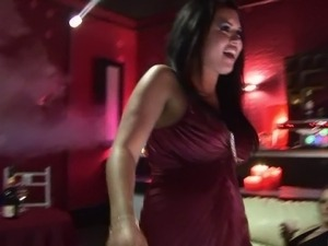 Sexy strippers suck and fuck horny clients in a club