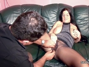 Hairy German MILF in Nylon get Hard Fuck and Cum On