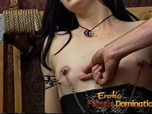 Delicious brunette slut has her perky boobs massaged really