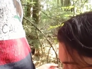 cheating latina wife sucking cock in woods at rest area prt2