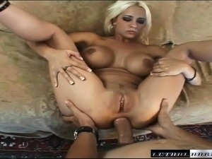 Busty blonde cocksucker Trina takes Mario's thick rod in her tight pussy and ass