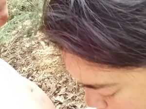 cheating latina wife sucking cock in woods at rest area prt3