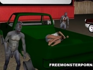 3D Babe Double Teamed Outdoors by Zombies