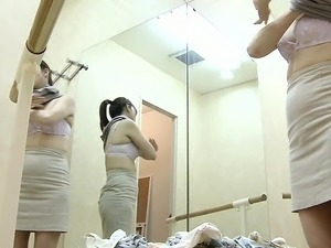 Japanese girls are changing into their exercise clothes on