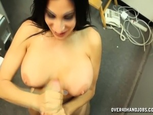 Ravishing brunette gets naked for a POV handjob and titty fuck in the back...