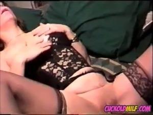 Cuckold MILF fucking her black bull Sissy husband tapes her