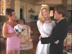 Stunning blonde bride fucks her groom with her bridesmaid
