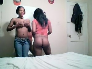 Camera show is placed on by 2 big ebony lesbians