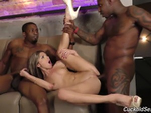 Doris Ivy fucked by black cocks in front of her cuckold