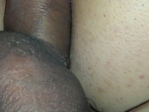 Ex rubbing wet creamy pussy with dick