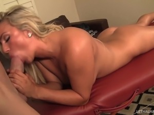 Young blonde pornstar Embry gets a massage and a hot facial