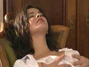 Lesbian Secretary Licks the Hairy Pussy Doctor