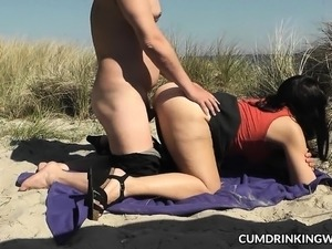 Slutwife Marion gangbang on the beach in Summer 2016