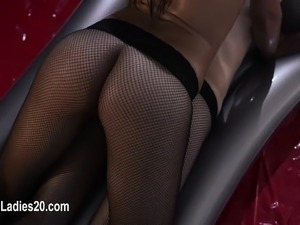 Two horny girls having fucking on red couch