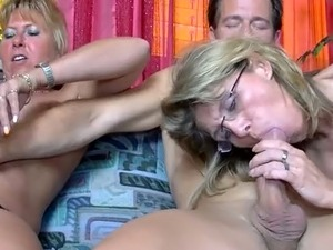 Mature four eyed bitch and her slutty pal have hard 3 some with thirsting man