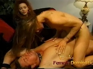 Kinky brunette wench grinds her twat against a studs fat