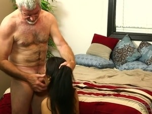 Raven haired slutty GF sucks sweet penis of 75 years old man with pleasure