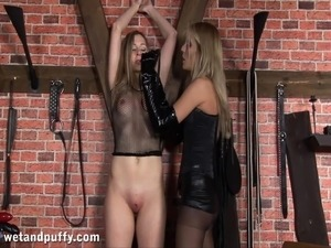 Lesbian Babes In Fishnet Getting Throbbed With A Strapon