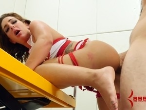 Slave nurse gives up her asshole for cock and a huge dildo