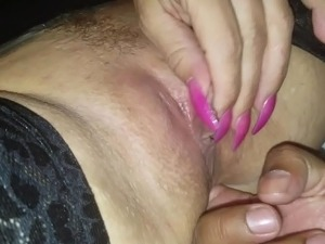 Asshole fingering with very large pussy lips