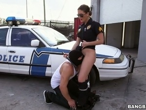 Stunning police officer Molly Jane fucks a horny criminal