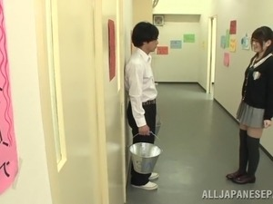 Sayuki Kanno gets a facial after blowing a classmate in the hallway