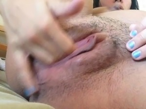 Pregnant: stretching pussy with hands clip