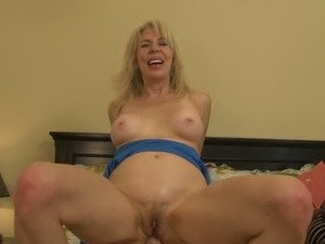 Old blond fuck doll enjoyed steamy ass fuck with young stud when his GF was...