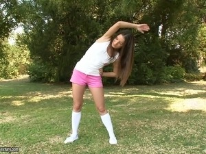 Sporty teen in knee highs sucking dick and fucking outdoors