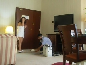 Half naked Arab slut wife teases another hotel worker