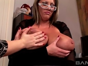 Stacked and leggy boss wants Joanna Bliss to watch her masturbate