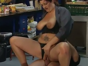 Trashy BBW with a pierced pussy loves getting fucked in the ass on camera